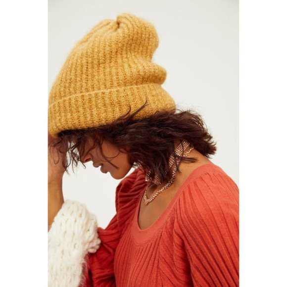 Free People Lullaby Rib Beanie Soft Plush Butter Knit Folded Pull On Winter Cozy